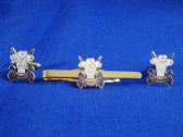 3rd CARIBINIERS ( PRINCE OF WALES'S DRAGOON GUARDS ) CUFF LINK AND TIE CLIP SET